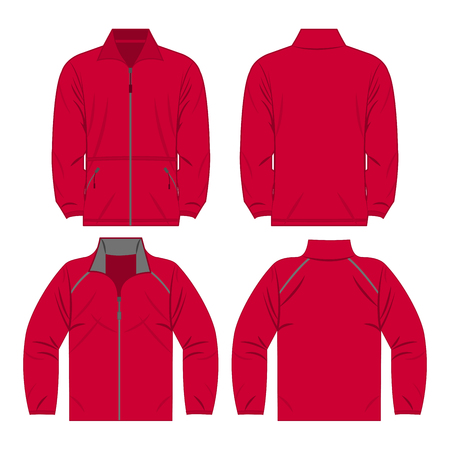 Hot pink color autumn fleece jacket and sport jacket set isolated vector Çizim