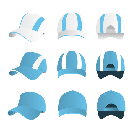 Strip baseball cap baby blue color with colored mesh and adjustable rubber strap isolated vector set