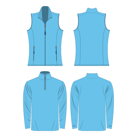 Baby blue color autumn fleece vest and jacket set isolated on white background