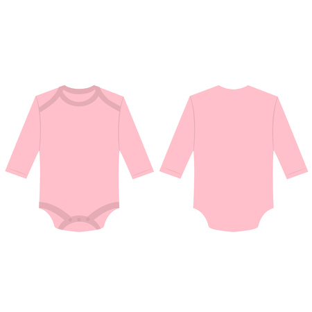 Baby pink baby long sleeve back and front bodysuit isolated vector Çizim