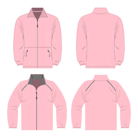 Baby pink color autumn fleece jacket and sport jacket set isolated vector