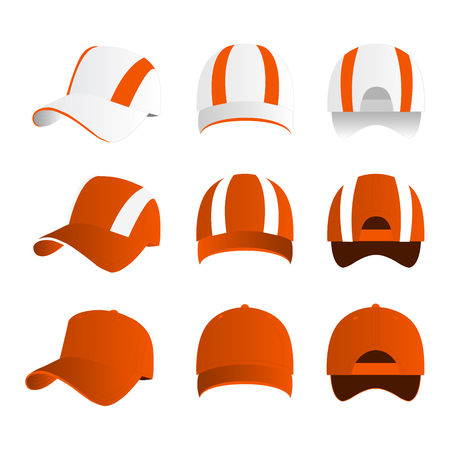 Strip baseball cap orange color with colored mesh and adjustable rubber strap isolated vector set Çizim