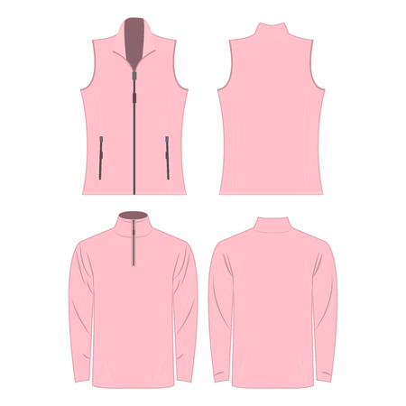 Baby pink color autumn fleece vest and jacket set isolated on white background Illustration