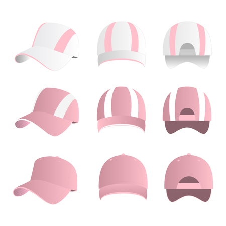 Strip baseball cap baby pink color with colored mesh and adjustable rubber strap isolated vector set