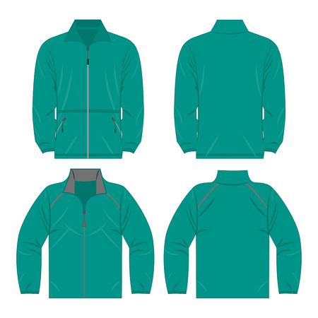 Teal color autumn fleece jacket and sport jacket set isolated vector