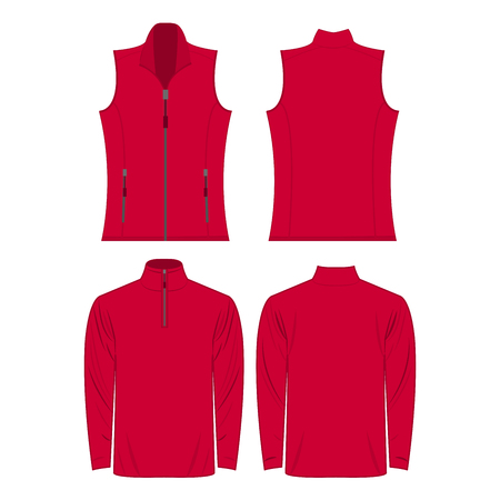 Hot pink color autumn fleece vest and jacket set isolated on white background Illustration