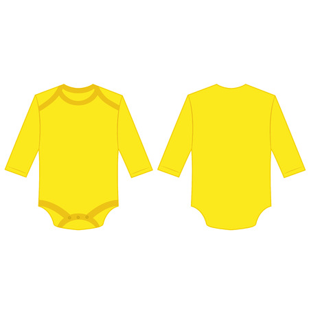 Yellow long sleeve back and front baby romper bodysuit isolated vector