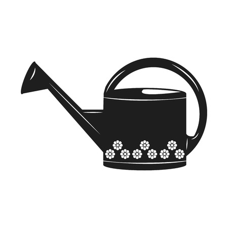 Watering can with flower isolated vector icon. Irrigation symbol. Çizim