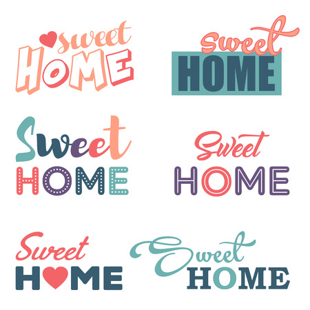 Sweet home logotype vector isolated set