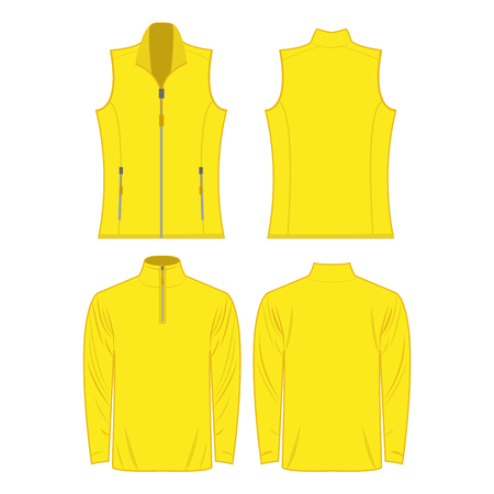 Yellow color autumn fleece vest and jacket isolated on white background
