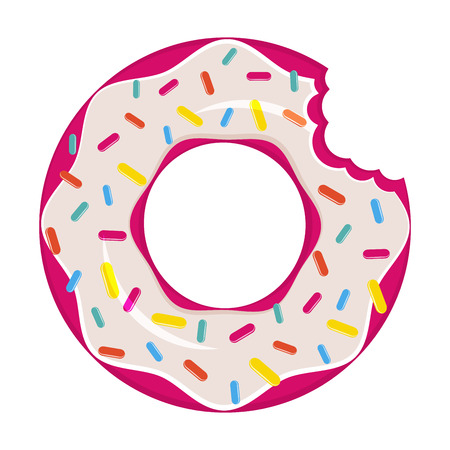 Pink doughnut inflatable swimming pool air mattress isolated vector
