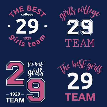 super woman: The best girls team college logo 29 isolated vector set