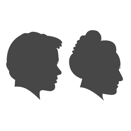 Man and woman face isolated on white background