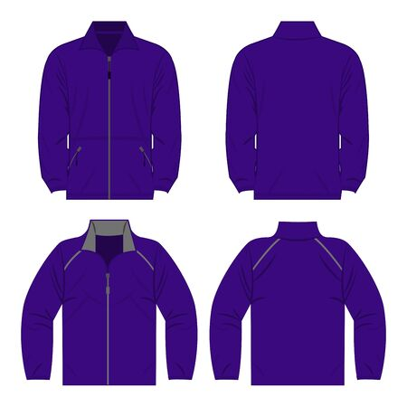 Violet color autumn fleece jacket and sport jacket set isolated vector