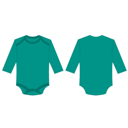 Teal long sleeve back and front baby romper bodysuit isolated vector