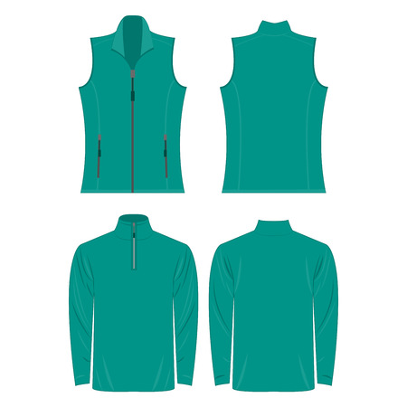 Teal color autumn fleece vest and jacket set isolated on white background