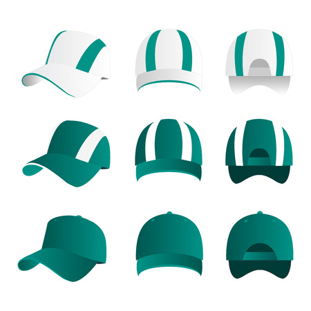 Strip baseball cap teal color with colored mesh and adjustable rubber strap isolated vector set