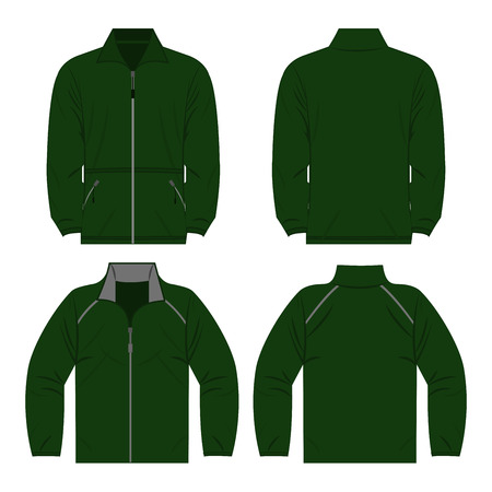 Green color autumn fleece jacket and sport jacket set isolated vector