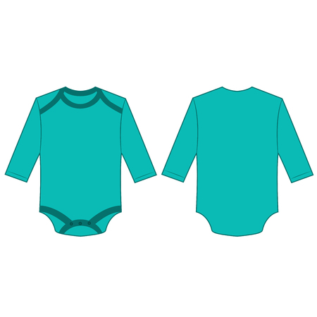Turquoise long sleeve back and front baby romper bodysuit isolated vector Çizim
