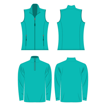 Turquoise color autumn fleece vest and jacket set isolated on white background Çizim