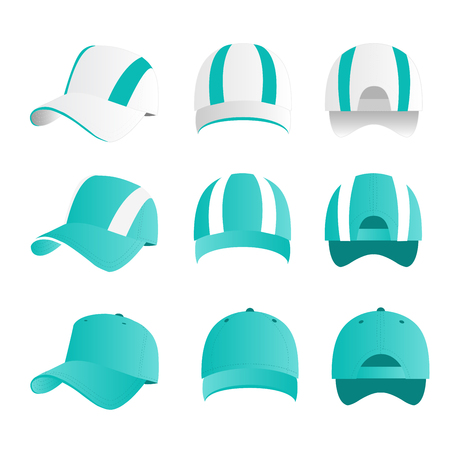 Strip baseball cap turquoise color with colored mesh and adjustable rubber strap isolated vector set