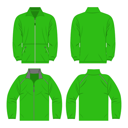 Light green color autumn fleece jacket and sport jacket set isolated vector