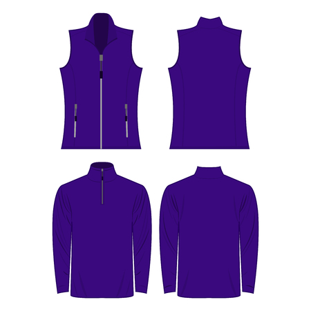 Violet color autumn fleece vest and jacket isolated on white background