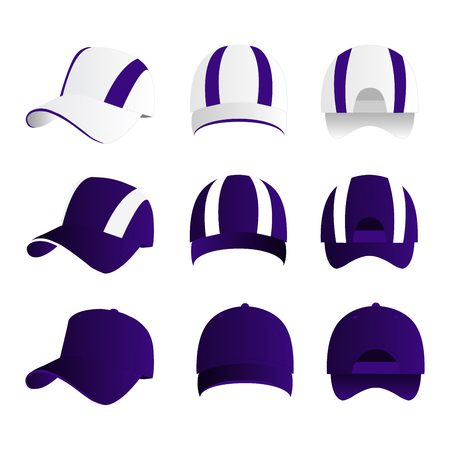 Strip baseball cap violet color with colored mesh and adjustable rubber strap isolated vector set