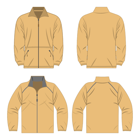 Light brown color autumn fleece jacket and sport jacket set isolated vector Çizim