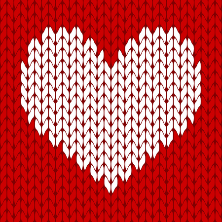 Knitted white heart on the red background pattern isolated vector Çizim
