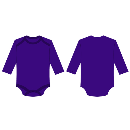 Violet long sleeve back and front baby romper bodysuit isolated vector