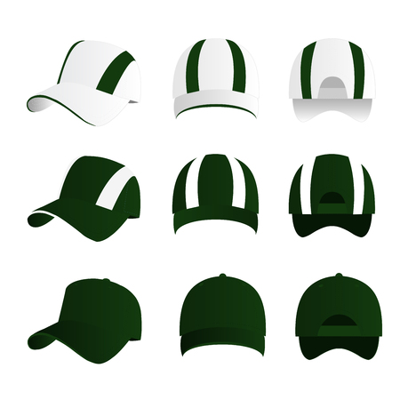 Strip baseball cap green color with colored mesh and adjustable rubber strap isolated vector set Çizim