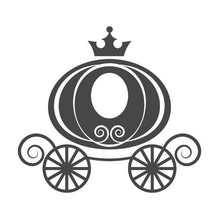 Elemento de boda carro de calabaza para el vector aislado de la tarjeta de invitación sobre fondo blanco Ilustración de vector