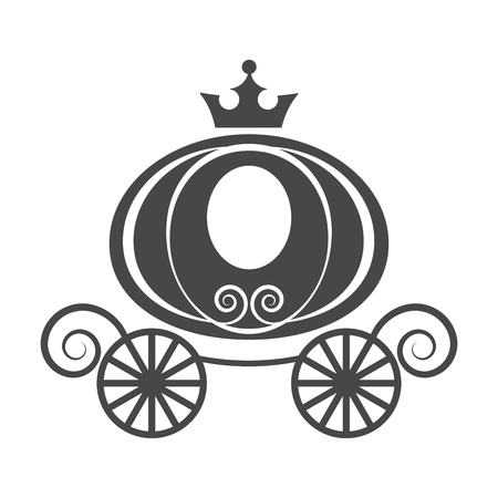Wedding element pumpkin carriage for invitation card isolated vector on white background Illustration
