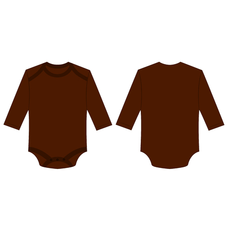 Brown long sleeve back and front baby romper bodysuit isolated vector