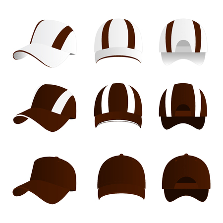 Strip baseball cap brown color with colored mesh and adjustable rubber strap isolated vector set Çizim