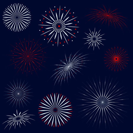 Fireworks isolated vector set on dark blue background Çizim