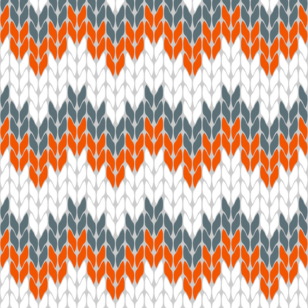 Autumn mood knitted pattern white, orange and gray abstract background triangle isolated vector. Illustration