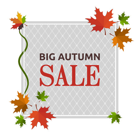 Big autumn sale banner vector Çizim