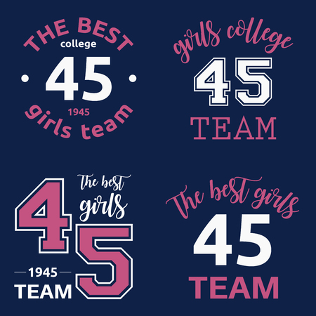 The best girls team college logo 45 isolated vector set on dark blue background.