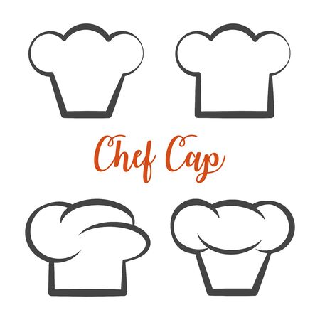 Chef cap icon isolated vector set