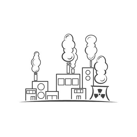 Factory industry contour icon isolated vector