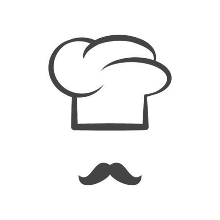 Chef cap with mustache isolated logotype icon Stok Fotoğraf - 85018761