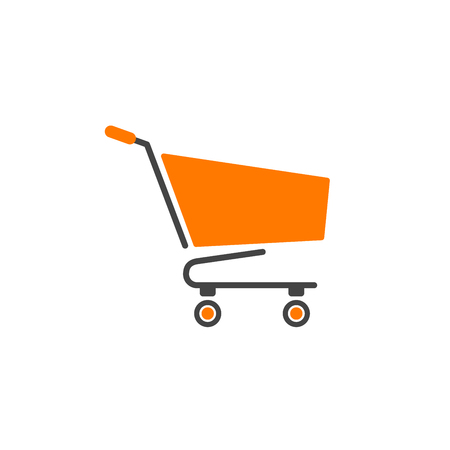 Shopping cart logotype orange with gray isolated vector Stok Fotoğraf - 87813585