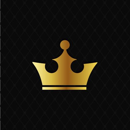 Gold crown icon on black background. Çizim