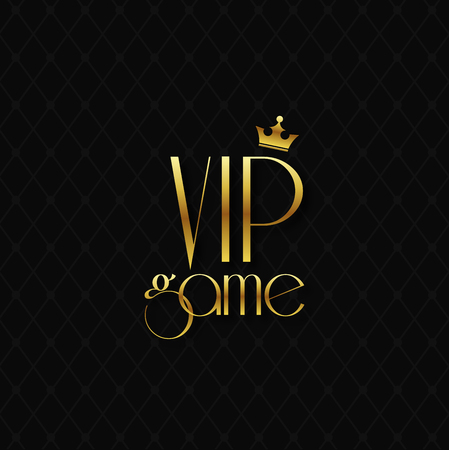 VIP game golden letters with crown on  black background. Stok Fotoğraf - 88168217