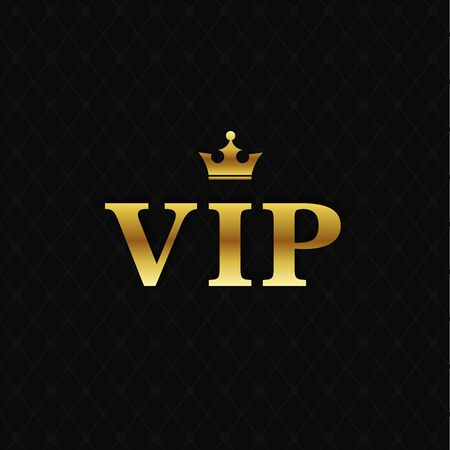 VIP golden letters with crown on black background. Çizim