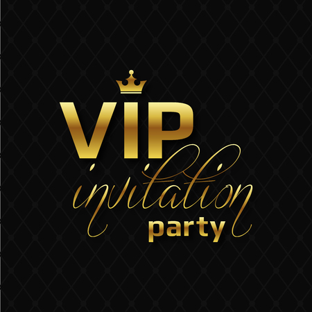 VIP party invitation on golden letters with crown. Çizim