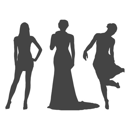 Women in dress silhouette isolated vector Stok Fotoğraf - 94177587