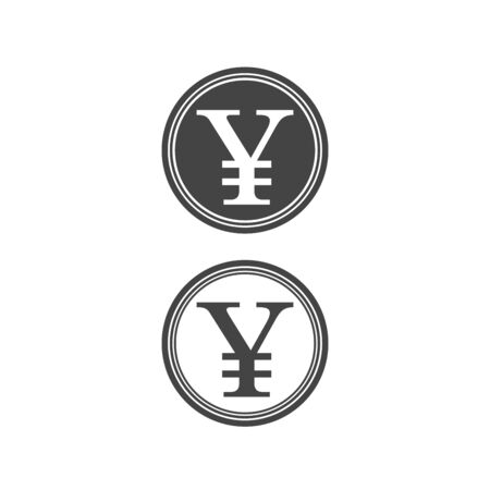 Japanese yen sign icon isolated vector set